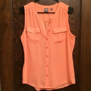 New York & Co. Peach/Pink Tank with pockets